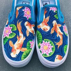 Koi Fish and Water Lily Handpainted Canvas Shoes (Vans Slip-On) Source by ideas with vans Custom Vans Shoes, Custom Painted Shoes, Painted Vans, Painted Sneakers, Hand Painted Shoes, Vans Slip On, Slip On Shoes, Sharpie Shoes, Shoe Wardrobe