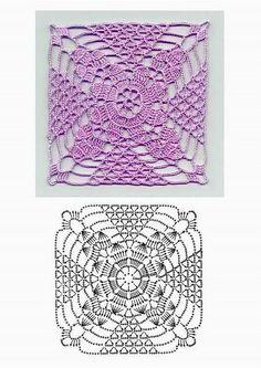 lacy crochet square motif