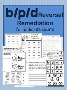 $1  This p/b/d reversal remediation packet contains 13 printables for small or large group.  Print for guided practice, or print and laminate for use year after year.This product was made with Adobe.  Although other programs will open and print this document, Adobe is the best for this product.There are no instructions on these printables, as the ideas for use are almost limitless.