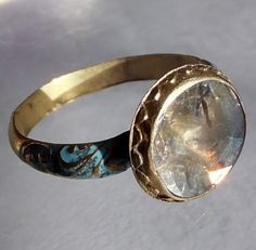 Seventeenth century diamond ring - check that gorgeous turquoise enameling.
