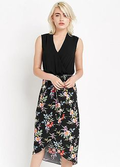 2-In-1 Botanical Wrap Skirt Dress by Oasis