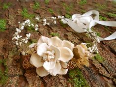 bohemian wedding head piece - WILDWOOD - rustic woodland, fall ivory flower wreath. etsy.com