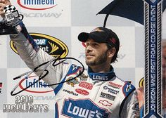 AUTOGRAPHED Jimmie Johnson 2011 Press Pass FIRST ROAD COURSE WIN (Infineon Raceway) #48 Lowes NASCAR SIGNED Trading Card w/ COA