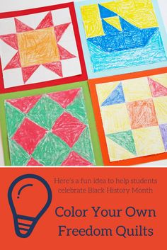 Celebrate Black History Month with these inspirational freedom quilts by @ellaandannie. Your students will love that each square they design has a secret code. Help your students decode each message and discuss how it guided the slaves to freedom. Each quilted square represents a journey of a brave individual who fought their way to be free in the underground railroads!