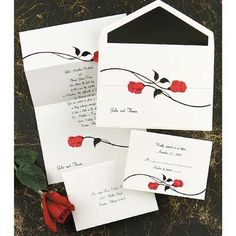 Amanda, look at this website for invites, they have that rose one you like