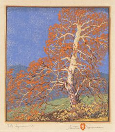 Gustave Baumann (German/American, The Sycamore Woodblock in colors on paper x inches x - Available at 2018 May 4 American Art -. Linocut Prints, Art Prints, Block Prints, Art And Illustration, Botanical Illustration, Rest, Arts And Crafts Movement, Woodblock Print, Artist Art