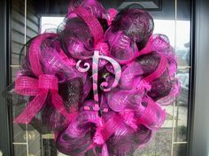 Hot Pink and Black Plaid Wreath with Letter by lilmaddy12 on Etsy, $75.00