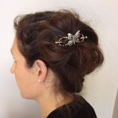 Big side messy bun with small soaring butterfly flexi clip.  #lillarose #lavender #butterfly #messybun #flexiclip #flexi8