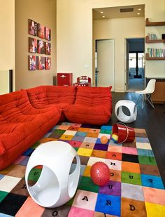 Bright Red Sectional Couch Kids Bedroom Furniture Corner Sofa Colorful Carpet Playroom Rugs