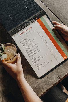 Ethyl & Tank by A&R Creative Group – Rosalie Fey – Design Restaurant Branding, Restaurant Menu Design, Restaurant Restaurant, Restaurant Recipes, Cafe Menu Design, Food Menu Design, Speisenkarten Designs, Decoration Restaurant, Dm Poster