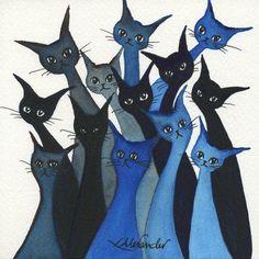 Whimsical Cats: Watercolour art 'Escondido Stray Cats by Lori Alexander #straycatart ♥•♥•♥