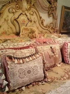 Rose pink and ivory romantic French bedding. custom bedding and exclusive bedding available designNashville