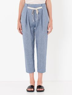 Carrot trousers in cotton/linen blend