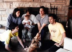 Steve Albini, Dave Grohl, Kurt Cobain, Frances Bean Cobain, Bob Weston, Krist Novoselic, and dog, at Pachyderm Studios in Cannon Falls, MN during the In Utero (album) recording sessions.