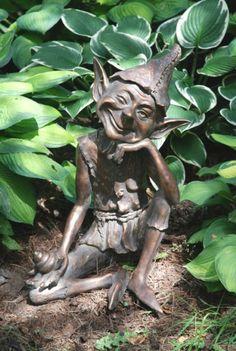 Pixie On A Snail Garden Sculpture / Statue Grinning And Winking Pixie Garden Ornament / Statue Outdoor Statues, Garden Statues, Garden Sculptures Uk, Large Garden Ornaments, Statues For Sale, Garden Whimsy, Garden Junk, Garden Soil, Garden Sheds