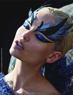 Dramatic Black and Shimmering Royal Blue Feather Eyebrows (and Royal Blue Winged Shadow)