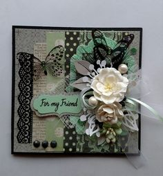 Card: Black and Green Shabby Chic Card