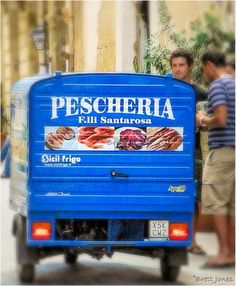 Fish delivery van in Ortigia, Siracusa, Sicily, Italy .  The Wine Maestro's photo blog