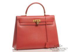 Hermes Kelly 35 Red Leather Handbag Gold Tote Shopper Togo Shoulder Straps Purse | eBay $8,500
