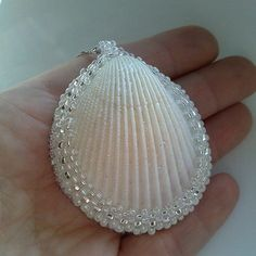 Pendant from sea shell White pendant Pendant from seashell Eco Natural materials Ivory Pearl Color Cream White Necklace Wedding on the beach Seashell Painting, Seashell Art, Seashell Crafts, Stone Painting, Seashell Jewelry, Diy Jewelry, Jewelry Making, Jewellery, Jewelry Ideas
