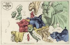 French satirical cartoon map ('Carte drôlatique d'Europe pour 1870') sought to get some laughs out of tensions in Europe by showing an anthropomorphic map of Europe, where each country was represented by a caricature of its national 'persona'.
