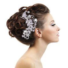 Hot Wedding Peacock Bird Flower Hair Comb Tiara Clear Rhinestone Crystal Women