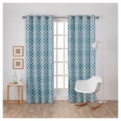 "Scrollwork Gated Print Sateen Woven Room Darkening Grommet Top Window Curtain Panel Pair Teal (Blue) (52""x84"") - Exclusive Home"