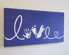 Any Color, Love Handprint and Footprint with Heart, Canvas Art with Print Kit, Custom Handpainted Keepsake, 12x24""