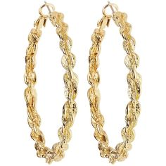 Fragments Golden Rope Hoop Earrings (47 PEN) ❤ liked on Polyvore featuring jewelry, earrings, gold, post earrings, golden jewelry, rope jewelry, rope earrings and hoop earrings