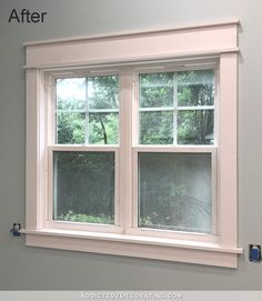These DIY window casings (or door casings) are so easy and require NO miter cuts! And they're so much prettier than standard window trim. Window Casing, Door Casing, Window Sill, Craftsman Window Trim, Interior Window Trim, Wood Windows, Windows And Doors, Home Fix, Farmhouse Windows