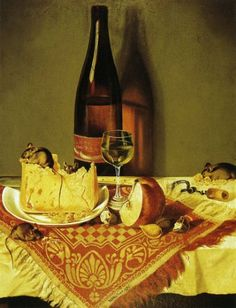 William Aiken Walker - still life with cheese bottle of wine and mouse. Cheese art.