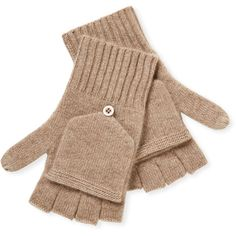 Qi Cashmere Cashmere Pop Top Tech Mitten ($39) ❤ liked on Polyvore featuring accessories, gloves, brown, cashmere gloves, cashmere mittens, mitten gloves, qi cashmere and brown gloves