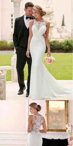 Romantic Tulle Satin Natural Waistline Mermaid Wedding Dresses With Beaded Lace Applique,WDY0182