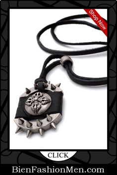 Mens Necklaces | Mes Necklace | Mens Accessories | Mens Jewelry | Mens Fashion |  Necklace on Men | Jewelry on Men | Jewelery for Men | Necklaces on Men | Men Jewellry ♦ K Mega Jewelry Black Leather Silver Mens Pendant Necklace $7.99