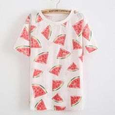 bananas/Watermelon harajuku women t shirt 2015 Summer thin Style fashion loose girl women short sleeve o-neck hollow out t shirt Cute Watermelon, Watermelon Outfit, Harajuku Girls, Cute Tshirts, Look Cool, Printed Shorts, Look Fashion, Size Clothing, Ideias Fashion