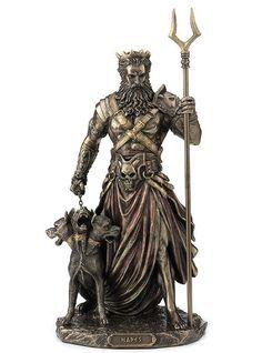Bronze Hades Ruler of Greek Underworld with Cerberus Sculpture Underworld Greek Mythology, Hades Greek Mythology, Greek Mythology Tattoos, Roman Mythology, Greek Goddess Tattoo, Greek God Tattoo, Hades Tattoo, Poseidon Tattoo, Guerrero Tattoo