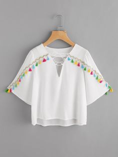 Shop Tassel Tape Lace Up V Neckline Top at ROMWE, discover more fashion styles online. Girls Fashion Clothes, Teen Fashion Outfits, Fashion Dresses, Stylish Dresses For Girls, Dresses Kids Girl, Crop Top Outfits, Cute Casual Outfits, Vetement Fashion, Frock Design
