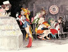 Sailor Moon ordering donuts after battle (and the rest of the senshi being none too pleased about it)