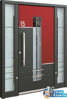 haustüre AGE 1305 mit rotem Dekor jetzt auf http://www.tueren-experte.de auswählen und individuell gestalten.