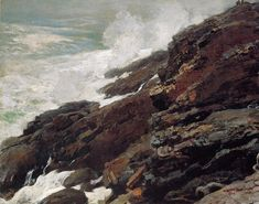 High Cliff Coast of Maine 1894 | Homer Winslow | Oil Painting #americanpaintings