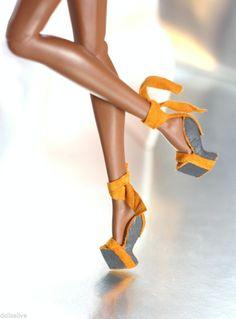 dollsalive fashion royalty, fr2 barbie orange leather wedge sandals