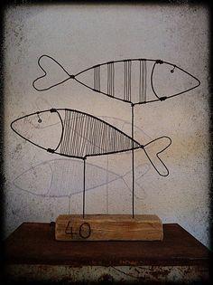 poisson, décoration, fil de fer, statuette, récu-copie-3