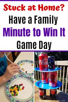 Easy Minute to Win It Games for Kids. Indoor Games you can play at home with your family. Or let kids race the clock to play on their own when stuck at home. Quick games to break up the day while schools are closed. Indoor Games For Kids, Summer Activities For Kids, Backyard For Kids, Backyard Games, Indoor Activities, Family Activities, Outdoor Games, Senior Activities, Family Games
