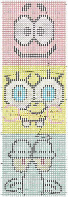 Alpha friendship bracelet pattern added by spongebob patrick squid cute animated nickoledion. Braided Friendship Bracelets, Diy Friendship Bracelets Patterns, Diy Bracelets Easy, Bracelet Crafts, Melty Bead Patterns, Embroidery Bracelets, Alpha Patterns, Bracelet Tutorial, Loom Beading