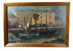 Oil on Board of Harbour Scene-fontaine-decorative-FON0525_A_main.png