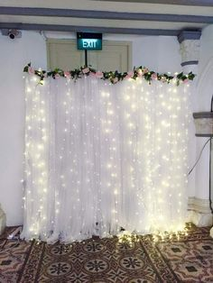 I like how it lights up. We can use sunflowers instead of the other flowers. I like how it lights up. We can use sunflowers … in 2020 Wedding Reception Backdrop, Prom Decor, Wedding Decorations On A Budget, Stage Decorations, Wedding Stage, Bridal Shower Decorations, Home Wedding, Birthday Decorations, Dream Wedding