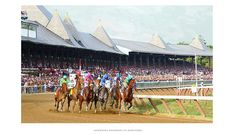 American Pharoah takes the lead into the first turn of the Travers Stakes in 2015. To his immediate right is the gray, Frosted, who took it to the Triple Crown Champion in one of the hottest second half miles in the race's history. On the far outside sits the eventual upset winner, the late running Keen Ice with Javier Castellano, in the green silks.