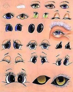 artists chart of different eyes to draw, como pintar desenhar olhos boca boneca Pintura Tole, Cartoon Eyes, Gourd Art, Rock Art, Painted Rocks, Painting & Drawing, Painting Tips, Painting Techniques, Art Projects