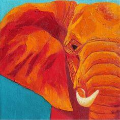"Palette Knife Painters: ""Orange Elephant"" Oil Palette Knife Painting by Hallie Kohn Art"