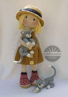 Crochet Pattern For Doll Tessa Pdf Deutsch English Français Nederlands Español - Amigurumi Crochet Doll Pattern, Crochet Chart, Crochet Toys Patterns, Stuffed Toys Patterns, Crochet Dolls, Knitting Patterns, Crochet Thread Size 10, Quilt Batting, Tapestry Crochet